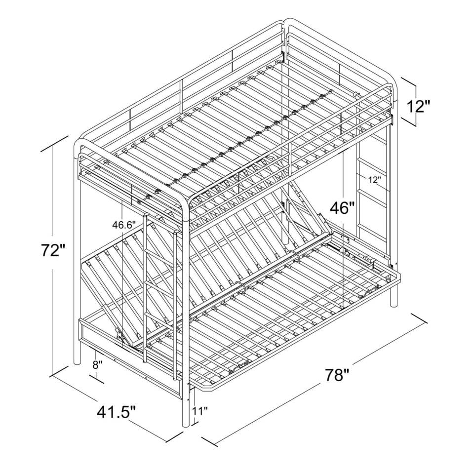 dhp twin over futon metal bunk bed instructions
