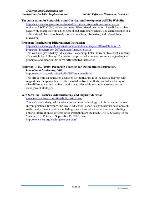 differentiated instruction and implications for udl implementation